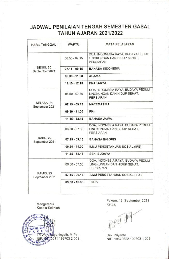 Jadwal Pelaksanaan Penilaian Tengah Semester Gasal Tahun Pelajaran 2021/2022